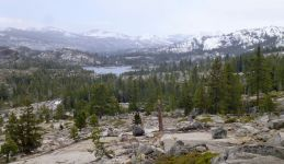 Finally found the Rubicon, view towards Desolation Wilderness. Snow starting to fall.