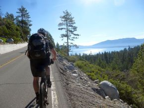 Roadie ride on Hwy 89, PCT and TRT and Wilderness overlapp on Southwest side of the lake.